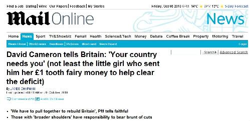 En liten flicka i Manchester gav ett pund hon fått av tandfén åt premiärminister Cameron