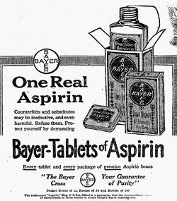 Annons för det smärtstillande läkemedlet Aspirin från 1917