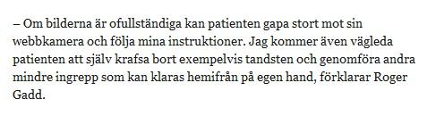 uttdrag ur Ystad Allehandas intervju med en påhittad tandläkare vid namn Roger Gadd