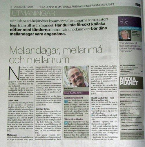 Tidningsutklipp från tidningen Tandhälsa där tandläkare Calle Hagman skrev ledaren