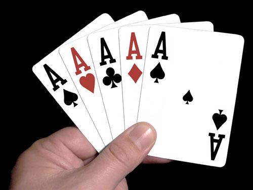 korthand med fem ess